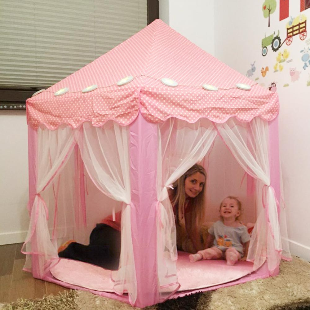 Portable Children's Tent For Kids Toy Princess Wigwam Ball Pool Castle Play House Girls Boys Foldable Playtent Baby Beach Tents image