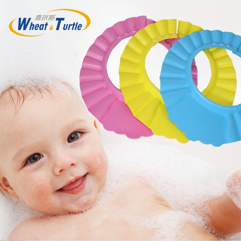 2020 Hot Sale Baby Bath Cap Visor Hat Adjustable Baby Shower Protect Eye Waterproof Shampoo Splashguard Hair Wash Shield For Inf