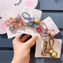 Kids Children Girls Elastic Hair clips Bands Sets Korean Plaid Bow Knot Pompom Cute Fall Winter Head wear Accessories-SWD-W7