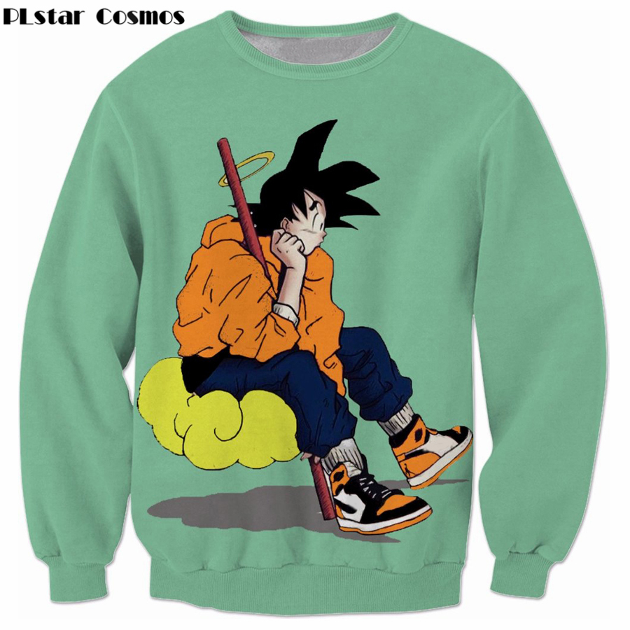 PLstar Cosmos Classic Anime Dragon Ball Z Sweatshirt Harajuku Style Men Women Long Sleeve Anime Goku 3D Print Crewneck Pullovers