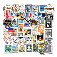 50Pcs Retro Stationery Stickers Vintage Stamp Sealing Label Travel Journal for Laptop Diary Decorations Scrapbooking