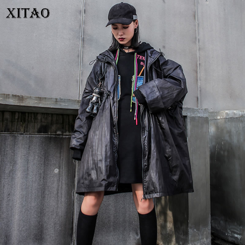 XITAO Letter Print   Trench   Women Fashion New 2019 Autumn Hooded Collar Wide Waist Plus Size Minority Loose Style Coat GCC2145