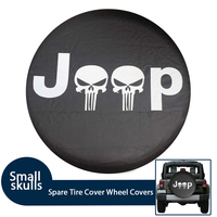 Soft PVC Leather Car Spare Tire Cover Case Waterproof Small Skulls RV For Jeep Ford SUV 4WD Camper Tire Diameter 29'' 33''