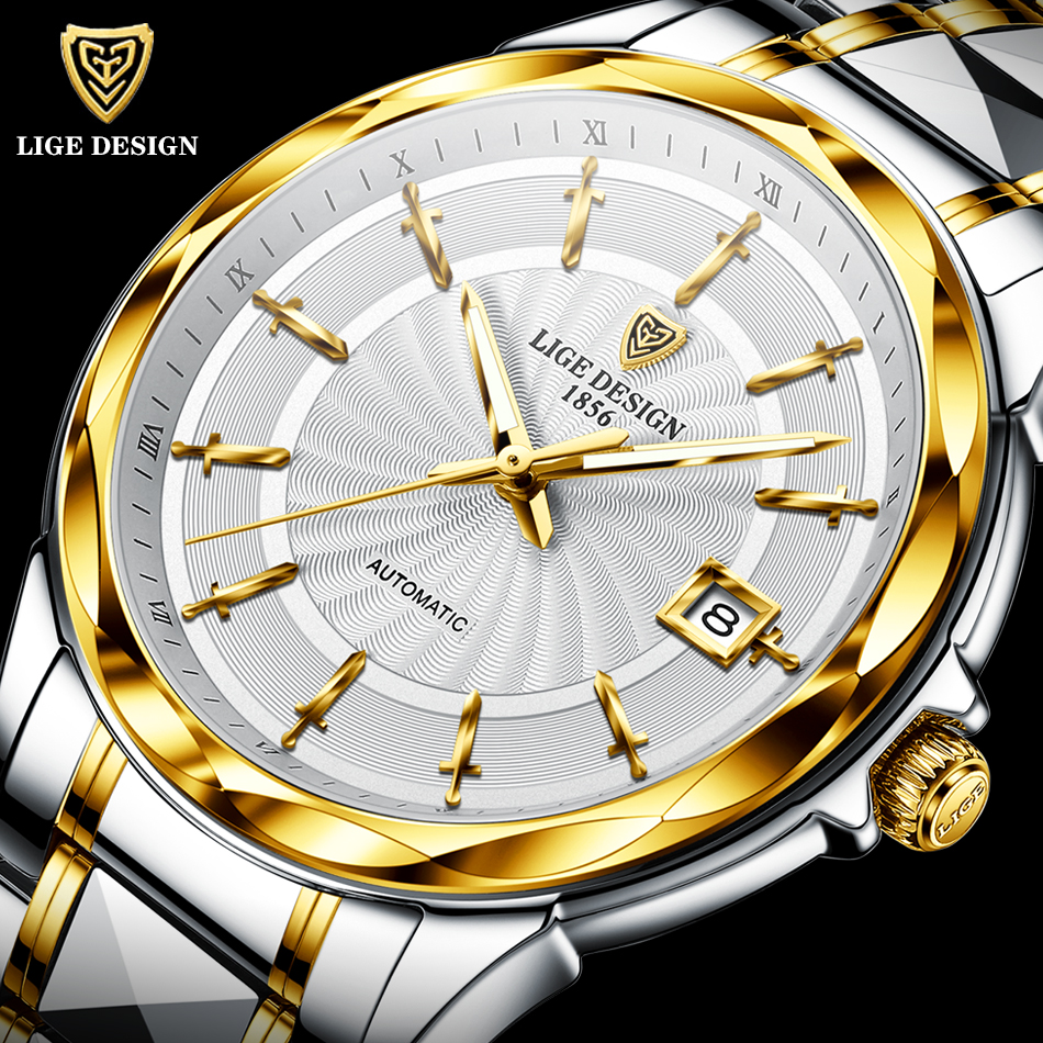 2020 новые LIGE меч образный указатель автоматические механические часы Роскошные вольфрамовые стальные 50 м водонепроницаемые бизнес часы мужские часы        АлиЭкспресс