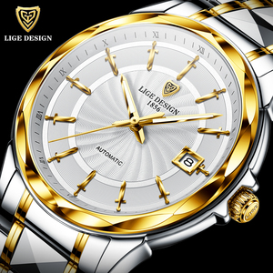 2020 New LIGE Sword-Shaped Pointer Automatic Mechanical Watch Luxury Tungsten Steel 50m Waterproof Business Watch Men Watches