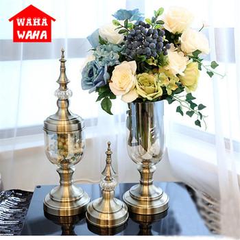 Europejski Retro szklana wazon metalowy stop złota wazon nowoczesna stołowa kreatywny dom dekoracyjny sztuczny wazon na kwiaty na ślub tanie i dobre opinie CLASSIC Kolorowe glazury Blat wazon 9253 Plating Color Blowing Glass Geometric Shape European Decoration Vase 14*48 CM 14*55 CM
