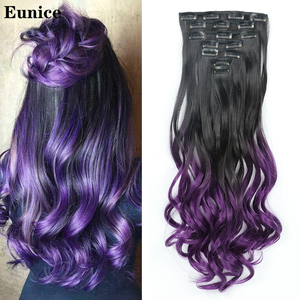 Eunice hair 22inch Ombre Long curly Hair Extension 7pcs/set 16 Clips High Tempreture Synthetic Hairpiece Clip in Hair Extensions