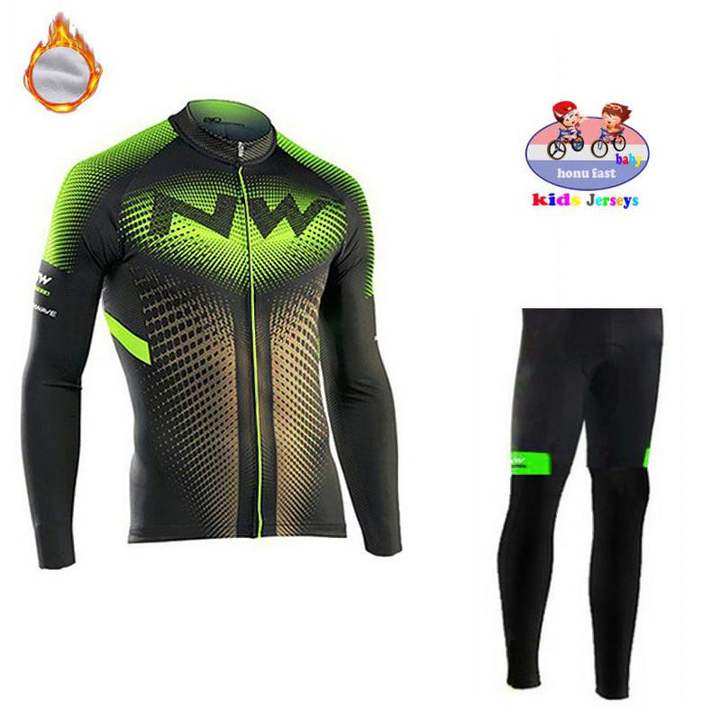 2019 Northwave Children Winter Thermal Fleece Long Sleeve Kids Cycling Jersey Set Pro Team Cycling Clothing MTB Ropa Ciclismo NW|Cycling Sets| |  - title=