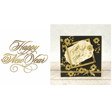 Hot Foil Plate Happy New Year copperplate glimmer Phrase Word for DIY Scrapbooking  2019 Embossing Paper Cards Crafts