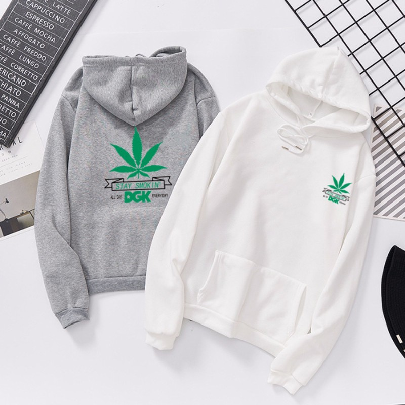 Women Clothes Fashion Green Maple Leaf Pattern Hoodies Couple Fall Clothing Cotton Sweatshirt Comfortable Long Sleeves Hoodie