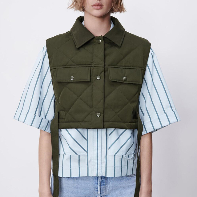 Womens Vest Army Green Lapel Sleeveless Jacket 2021 Fashion Large Pocket Design Waistcoat Streetwear Tops 3
