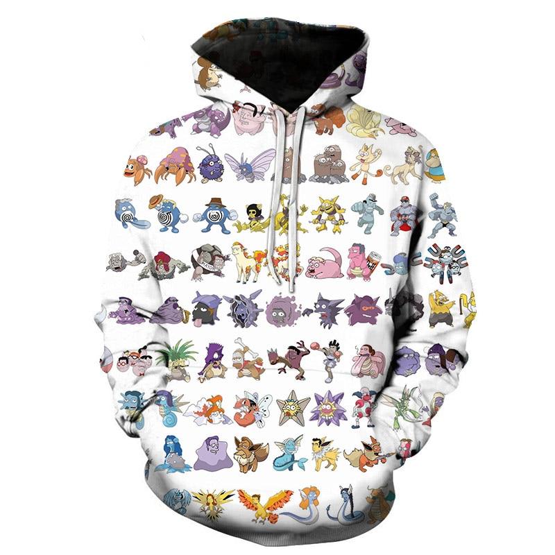 Women Men Anime Pokemon Pikachu Hoodie Cosplay Costume Warm Sweatshirts Unisex Cartoon Pullover Casual Brand Jumper S-6XL