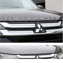 Car Accessories For Mitsubishi Outlander Chrome Car 3D Letters Hood Emblem logo Badge car sticker For Outlander Wording 3D car accessories car sticker stainless steel slim for outlander wording 3d letter sticker trim for mitsubishi outlander