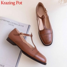 Pumps Straps Krazing-Pot Low-Heels Round-Toe Vintage Genuine-Leather Women Mary Janes