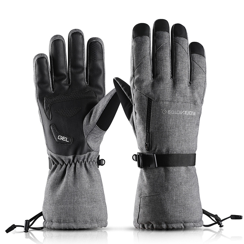 Winter Waterproof Skiing Gloves Touch Screen Thick Thermal Windproof Pocket Non-slip Snowboard Gloves Riding Ski Mittens