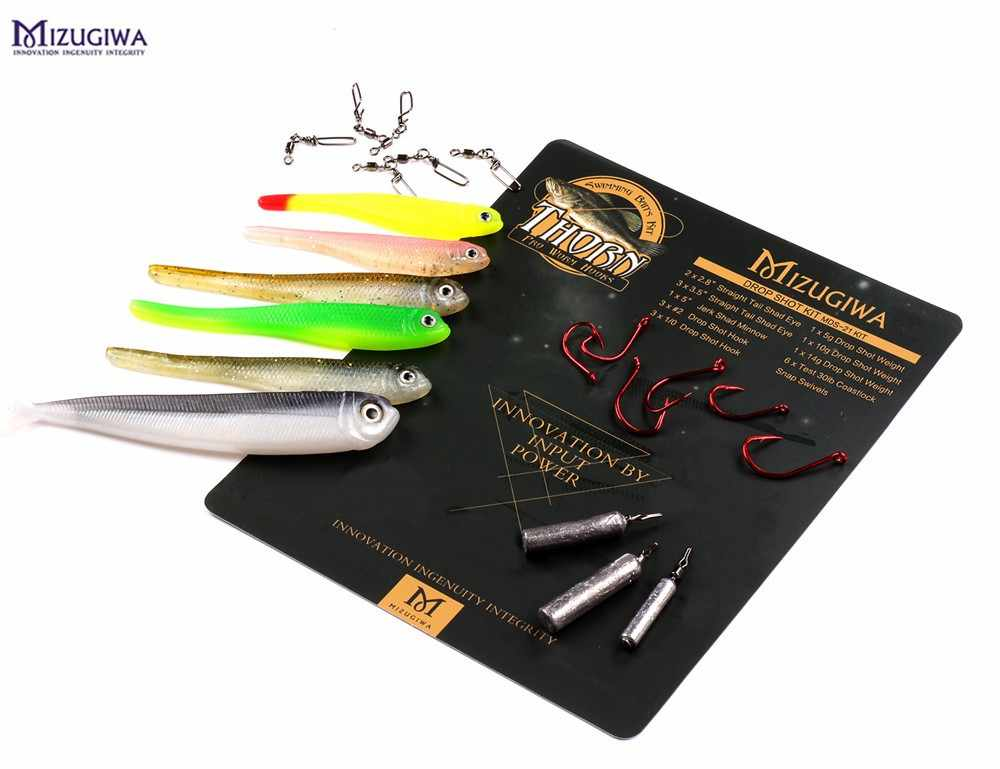 Mizugiwa 21 Inc DROP Shot RIG ตกปลาชุด SOFT SHAD Minnow Lure น้ำหนัก Snap Hook เบส Perch Walley Fishing leurre Souple