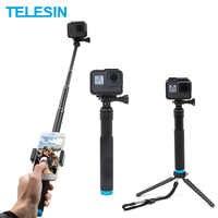 TELESIN 6 en 1 extensible aleación de aluminio palo de Selfie + soporte de teléfono de montaje de trípode desmontable para GoPro cámaras SJCAM Xiaomi Yi