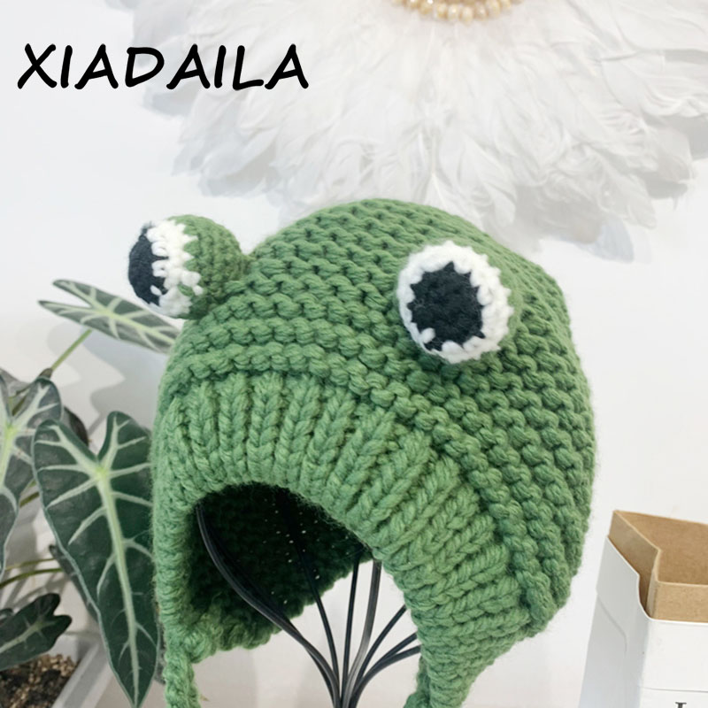 2020 women's hats winter with pompon Cute Frog Hat Crochet Large Knitted for girls Costume Beanie christmas fashion Hats Cap