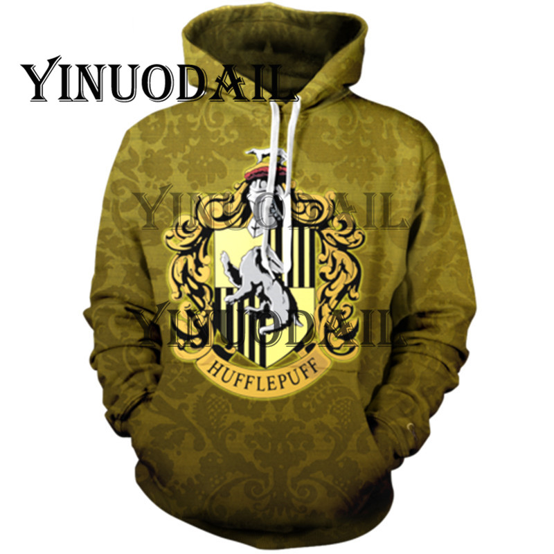 Fans Wear Hufflepuff 3D Printed Hoodie With Pocket Ravenclaw Gryffindor For Adult Unisex Sweatshirt Costume