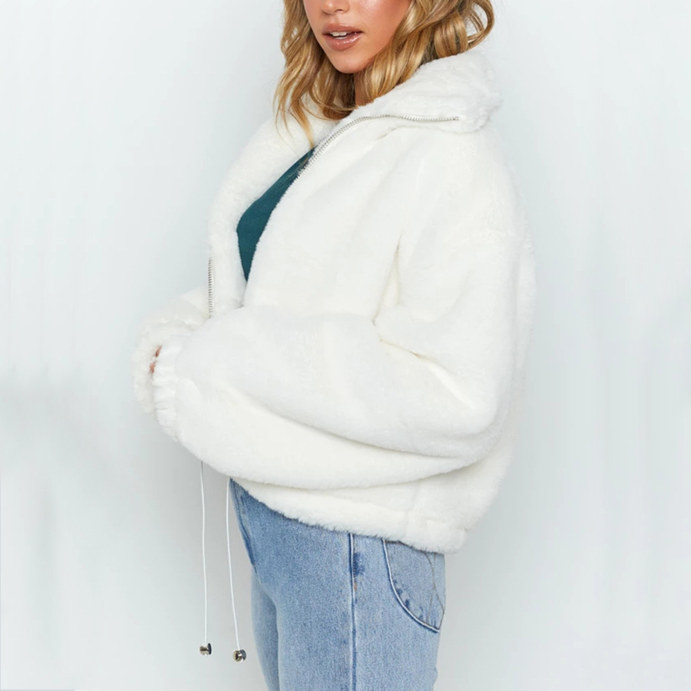 Goocheer Autumn Winter Casual Short Solid Turn down Collar Jacket Thick Faux Fur Zipper Jacket Teddy Coat Female Casaco Feminino in Jackets from Women 39 s Clothing