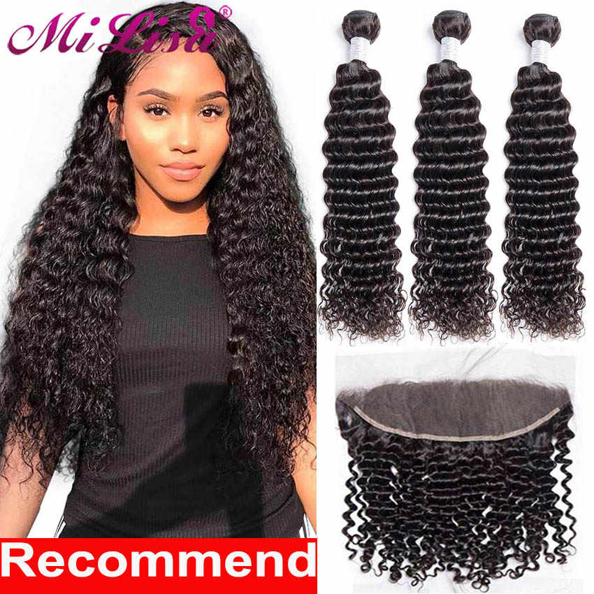 Deep Wave 3 Bundles With Frontal 10- 30 inch Brazilian Human Hair Weave Bundle With Closure Remy Lace Frontal With Bundle MiLisa