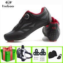 Tiebao-zapatos de Ciclismo de carretera para hombre y mujer, Zapatillas deportivas transpirables de autosujeción, color gris