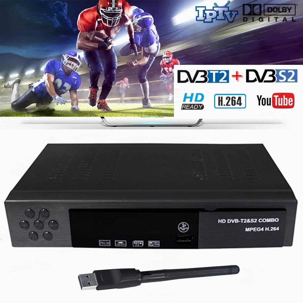 Vmade hd receptor satélite terrestre digital DVB-T2 DVB-S2 + usb wifi suporte h.264 cccam dolby youtube conjunto de combinação-caixa superior