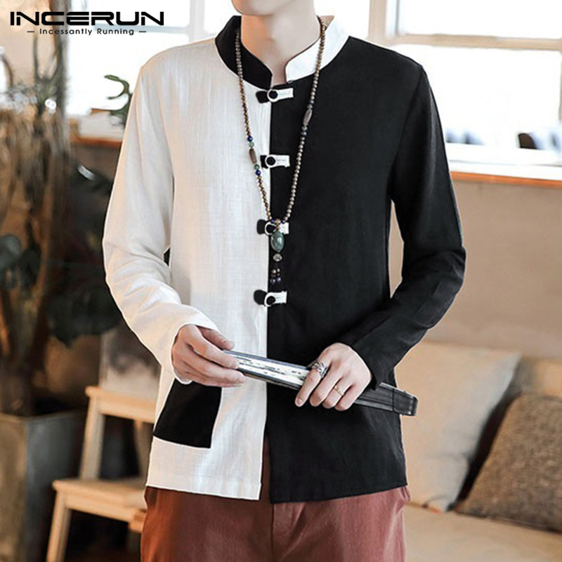 INCERUN Retro Cotton Men Shirt Patchwork Vintage Button Casual Chic Stand Collar Long Sleeve Chinese Style Shirts Camisas Hombre