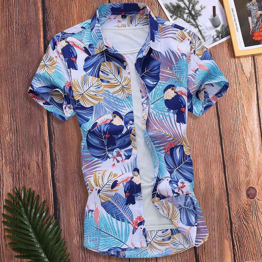 Men Short Sleeve Shirt Summer Floral Loose Baggy Casual Holiday Shirts Tee Tops 1.9