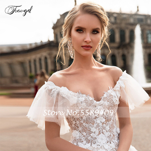 Image 4 - Traugel V Neck A Line Lace Wedding Dresses Applique Off Shoulder Backless Flower Bride Dresses Long Train Bridal Gown Plus Size