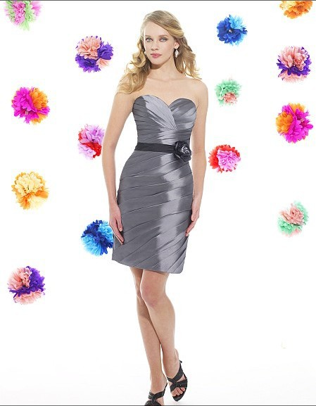 Free Shipping 2014 Abendkleider New Taffeta Knee Length Sheath Sweetheart Open Back Natural Waist Sash Flower Bridesmaid Dress