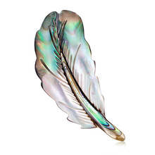 Natural Abalone Shell Brooch Western Temperament Joker Feather Ladies Corsage Dan Run Factory Direct Stock