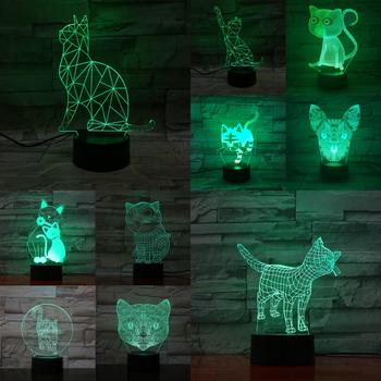 Lámpara de luz nocturna LED 3D con dibujo de gato, lámpara de...