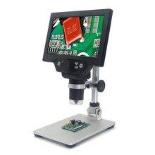 G1200 1-1200x microscópio digital 12mp 7 Polegada grande tela colorida display lcd amplificação contínua lupa com suporte de solda