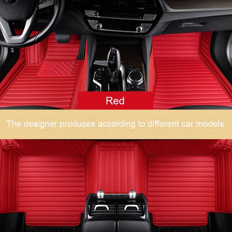 Striped Leather Car Floor Mat for FORD F150 Falcon Fiesta Focus C-MAX Fusion Mondeo Explorer Edge Ecosport Car Accessories