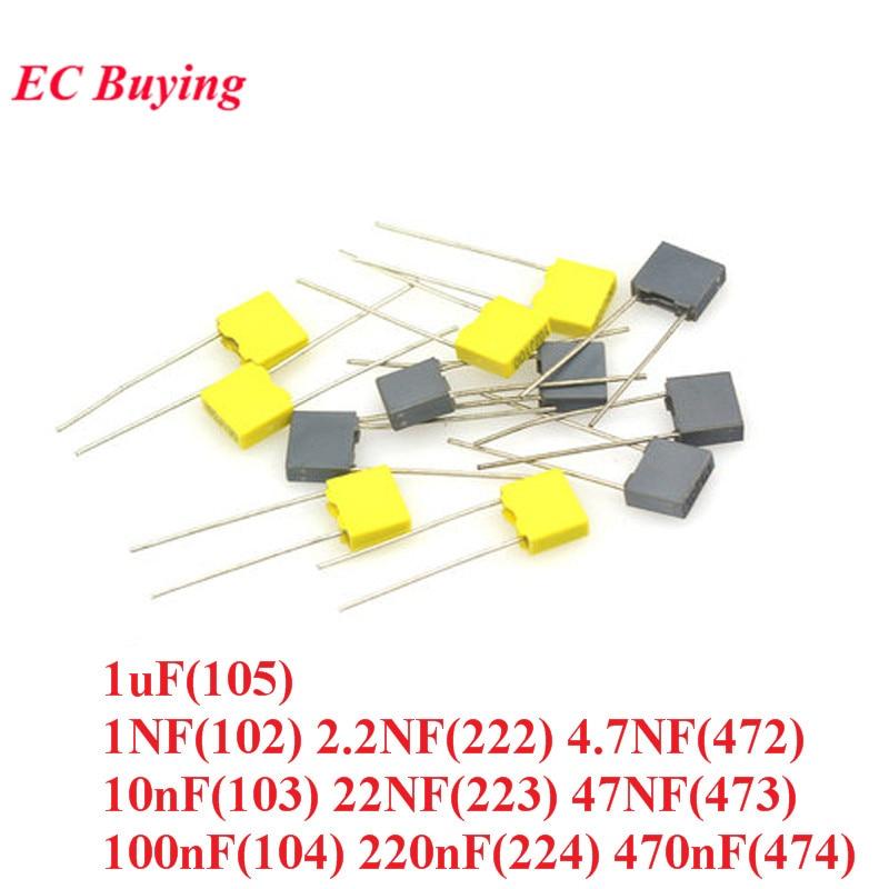 20pcs 100V Correction Block Capacitor 1NF 2.2NF 4.7NF 10nF 22NF 47NF 0.1UF 100NF 220NF 470NF 1uF 102 103 104 105 222 223 224 472