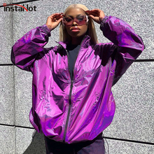 InstaHot Purple Shiny Oversized Jacket Women Thin Zipper Up Turtleneck High Street Coat Autumn Winter Casual Outerwear 2019 New