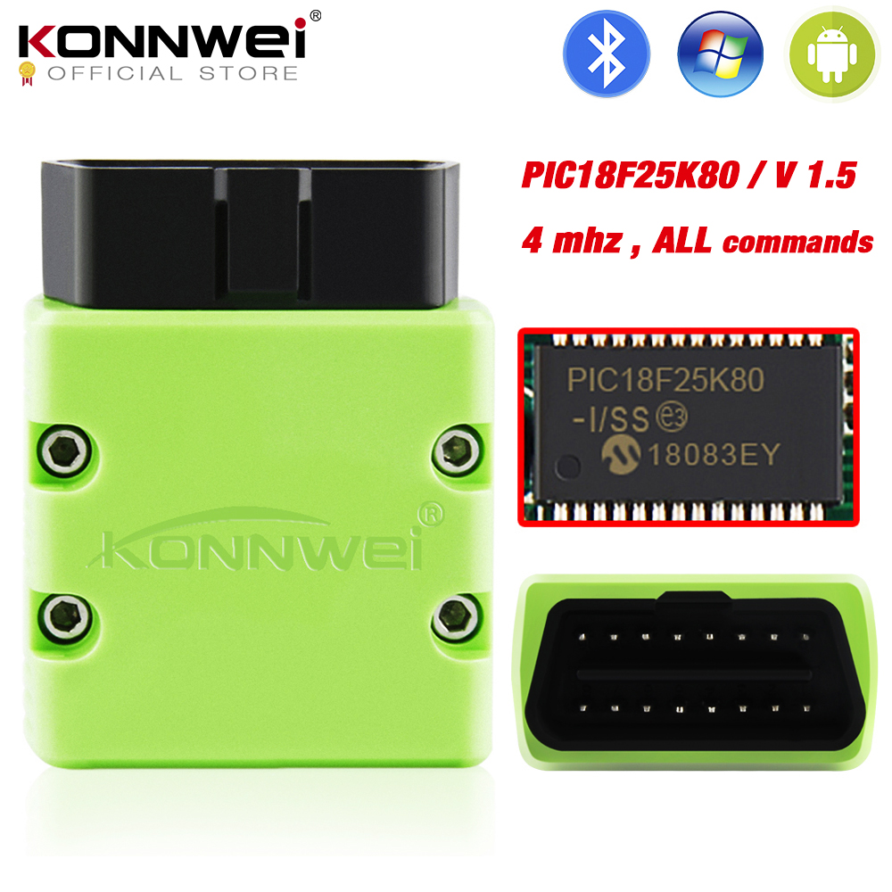 KONNWEI ELM327 V1.5 OBD2 Scanner KW902 Bluetooth Autoscanner PIC18f25k80 MINI ELM 327 OBDII KW902 Code Reader For Android Phone
