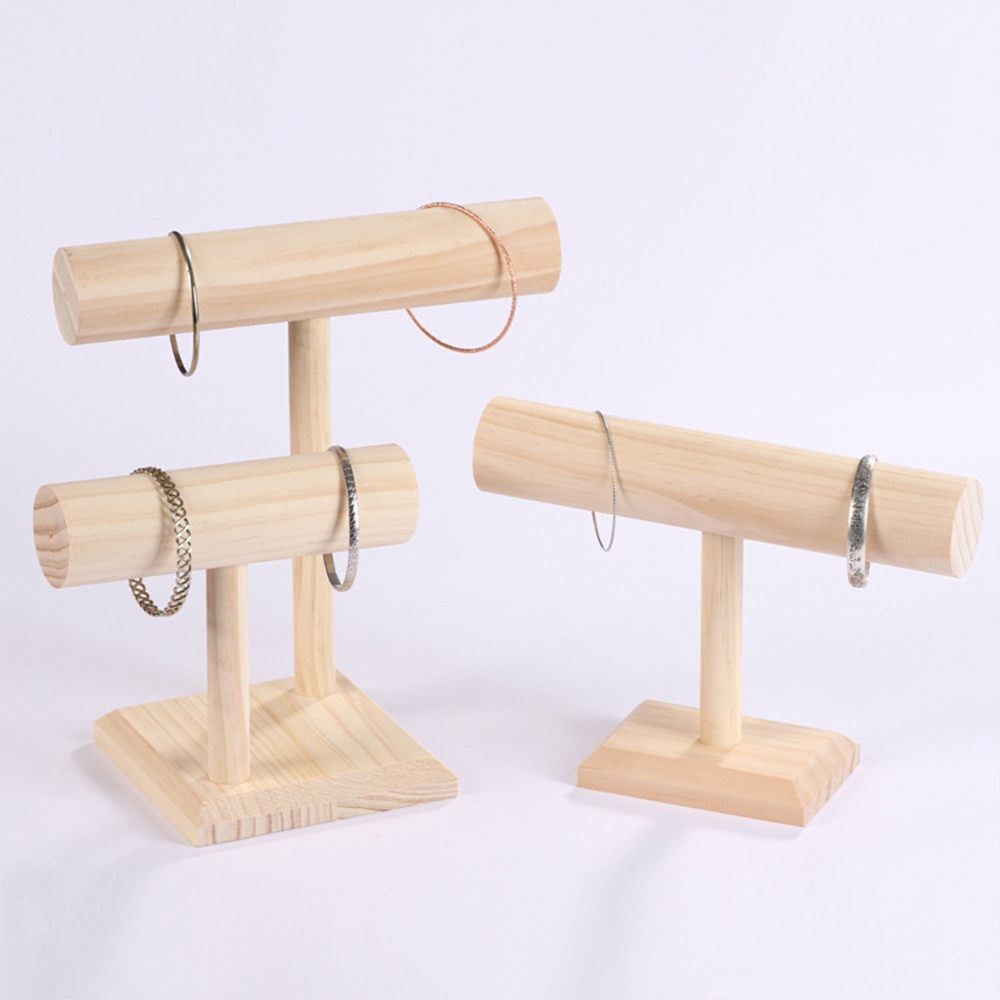 Free Shipping DIY Wood Display T-BAR Watch/Bracelet Jewelry Display Stand Holder Women Bracelet Necklace Jewelry Display Stand