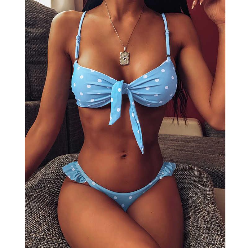 Biquíni feminino sensual estilo push up, roupa de banho estilo push up com laço e bolinhas, conjunto de roupa de praia, 2020 traje de natação