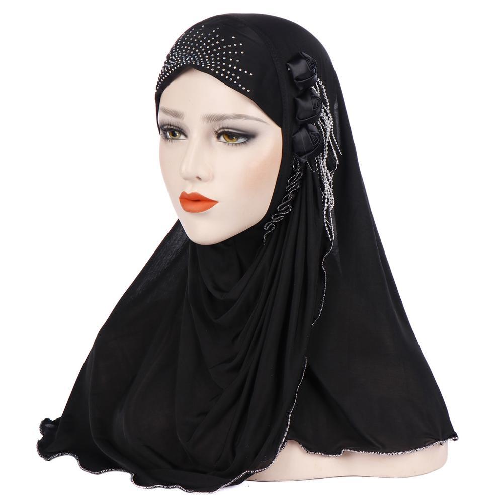 Middle Eastern Muslim Side Flower Tassel Headscarf Arab Dubai Tourism Saudi Mosque Baotou Ladies Hijab Solid Color Long Scarf