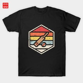 Retro odznaka krykieta koszulka kręgle Wicket melonik Bat Cricketer zespół pnie sport piłka Bails