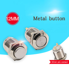 10Pcs 12mm Metal Push Button Switch Waterproof Stainless Steel Press Button Self-reset 1NO High Flat Round Head Switch Buttons 2pb321 push button switch usa import reset switch 6 foot push switch 12mm
