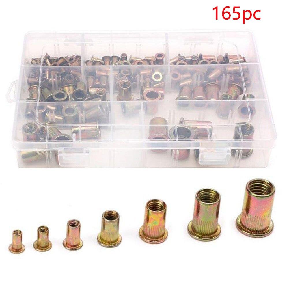 165pcs Nutsert Insert Threaded Fastening Cap Accessories Knurled Flat Head M3-M12 Nutsert Zinc Plated Rivet Nut Kit Durable