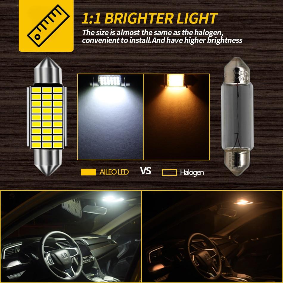 AILEO 1x C10W C5W LED Canbus Festoon 31mm 36mm 39mm 42mm for car Bulb Interior Reading Light License Plate Lamp White Free Error 5