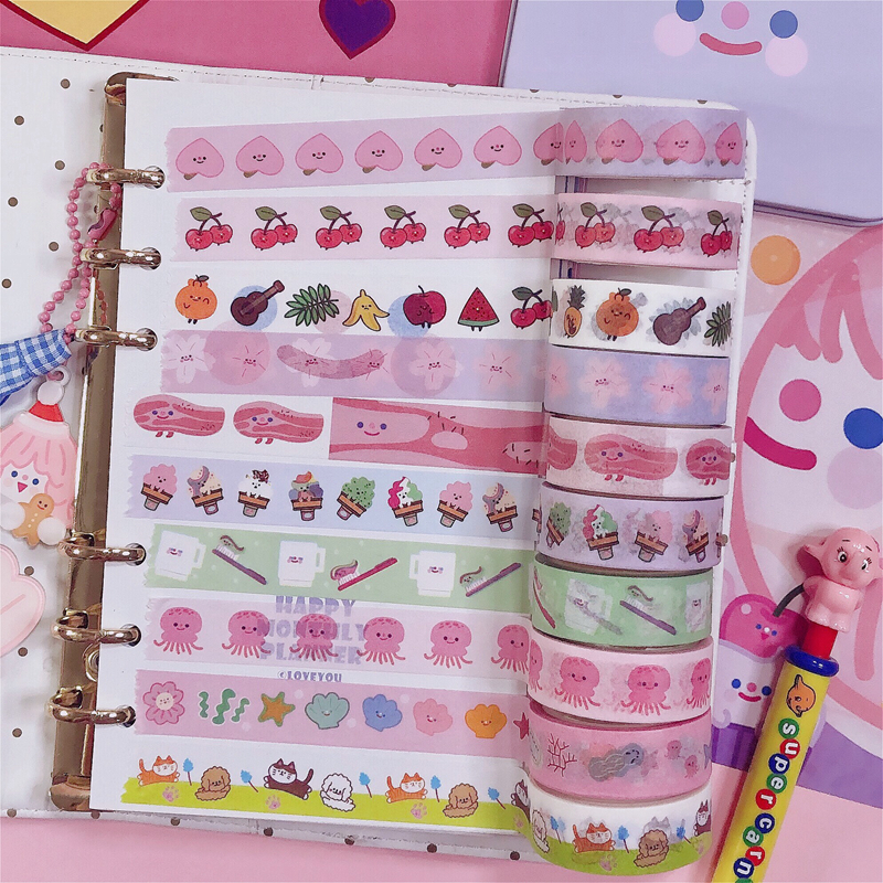 Ins Hot Cartoon Fruit Animal And Paper Adhesive Tape 14 Models Kawaii Korea Washi Tape Hand Account Decorative Masking Tape