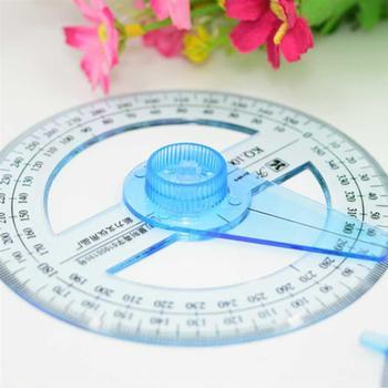 2 sztuk 360 stopni koło kątomierz dla podstawowych uczniowie przeźroczyste tworzywo sztuczne w pełni okrągłe Goniasmometer obrotowe kątomierze tanie i dobre opinie NUOLUX CN (pochodzenie) Z tworzywa sztucznego 360 Degree Pointer Protractor circle protractor plastic protractor circle goniasmometer