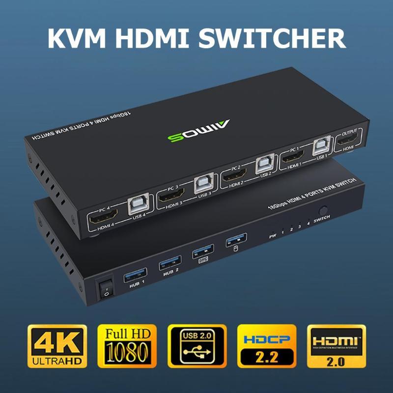 18 Гбит/с 4K 60Hz Ultra HD металлический чехол 4 входа 1 выход KVM переключатель HDMI 2,0 экран коммутатор общий клавиатура и мышь AM-KVM401