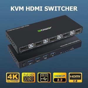 Image 1 - 18 5gbps 4 18k 60hz超hd金属ケース4入力1出力kvmスイッチhdmi 2.0のリモートスクリーンスイッチャー共有キーボードとマウスAM KVM401