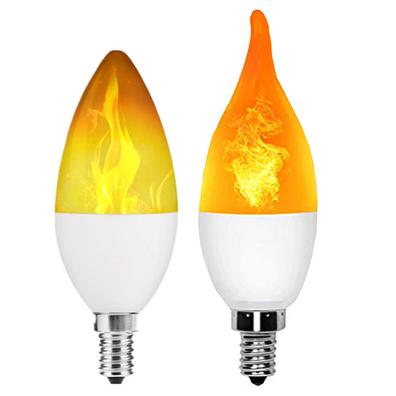 LED Flame Effect Simulated Fire Light Bulb E27 Flickering Lamp Xmas Home Decor